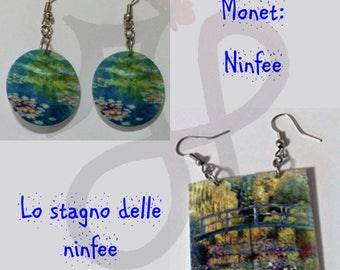 Earrings with paintings by Claude Monet