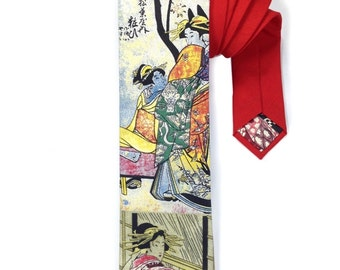 Japanese Geisha Cotton Tie, Red Japanese Tie, Geisha Tie, Neck Tie for Men, Mens Neck Wear, Mens Designer Tie, Novelty Tie, Mens Accessory