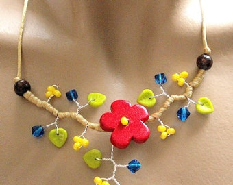 Colorful floral necklace red/yellow/blue/green