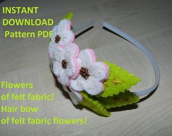 Fabric flower Pattern/tutorial PDF, felt fabric flower, Hair bow of felt fabric flowers
