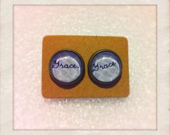 """12mm Glass """"Grace"""" Vintage Style Earrings"""
