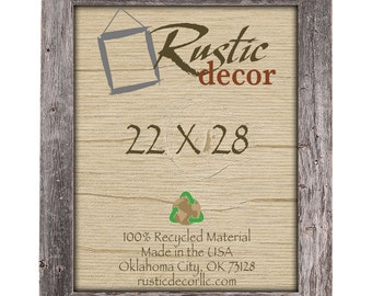 """22x28 Rustic Barn Wood 3.5"""" Extra Wide Wall Frame"""