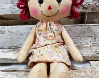 Raggedy Annie Billie Jean Annie Primitive Doll Raggedy Ann Light Pink Floral Pillow Dress Annie Doll Ready To Ship!
