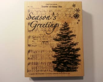 Recollections Wood Stamp Seasons Greetings Christmas