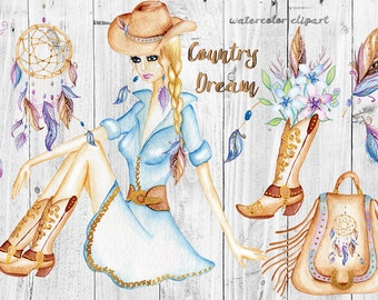 Watercolor Western Clipart, Dream Catcher, Boho Clipart Cowgirl Hat Cowgirl Boots feathers, purse, Country style Wild West Wedding clipart