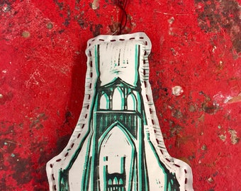 Saint Johns Bridge Woodblock print stuffed ornament
