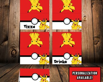 Pokemon Food Tent Cards! -Pokemon Party Favors - Pokemon Party - Pokemon Birthday - Pokemon GO - Instant Download