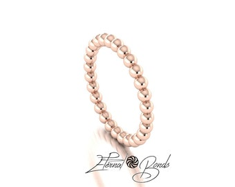 Solid 10k Rose Gold Bubble Stacking Ring, Bead Ring, , Beaded Ring, Thumb Ring, Midi Ring, Knuckle Ring