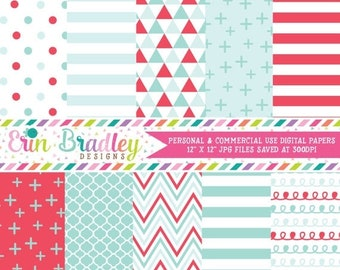 80% OFF SALE Red and Aqua Blue Digital Paper Pack, Personal & Commercial Use Digital Scrapbook Paper Pack