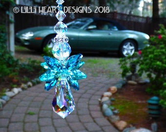m/w Swarovski Crystal RARE INDICOLITE Teal Wings Aqua AB Guardian Angel Medium Suncatcher Rear View Mirror Car Charm Lilli Heart Designs