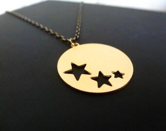 DESTASH star necklace, chain brass and black