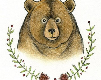 brown bear with pinecone original ink and colored pencil drawing