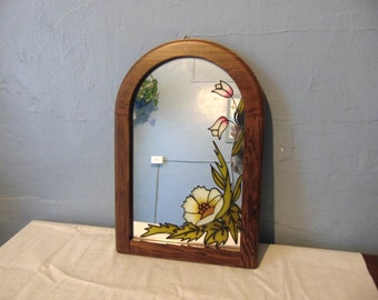 Stained Glass Wood Framed Mirror Flowers