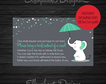Elephant Bring a book instead of a card insert, Baby Shower book request, baby, green, umbrella, instant download, DIY printable, digital