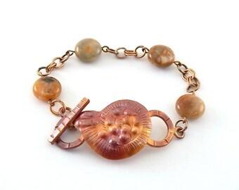 Handmade Bracelet, Copper Shell Bracelet, Metal Bracelet, Antique Copper Bracelet, Agate Coin Bead Bracelet, Patricia Healey Bracelet,  B016