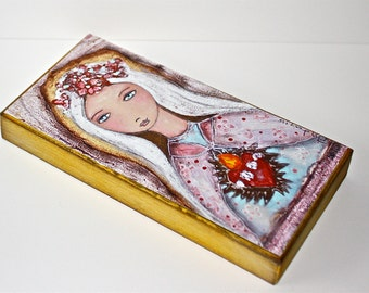 Sacred Love -  Giclee print mounted on Wood (5 x 10 inches) Folk Art  by FLOR LARIOS