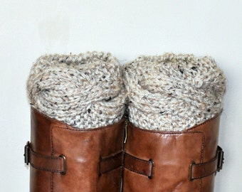 BOOT CUFFS Socks Cabled Leg Warmers Choose COLOR Oatmeal Natural Beige Off White Vegan Gift under 50