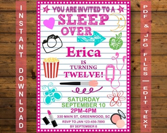 Sleepover Invitation,   Slumber Party Invitation, Instant Download, Teen Invitation, Pajama Party, sleepover birthday invitation, sleepover
