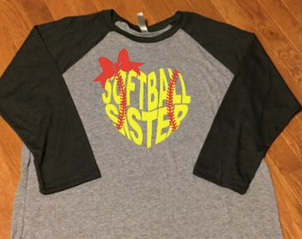 Softball Sister Shirt, Softball Shirt, Softball Mom Shirt, Softball Raglan, Softball Sister Raglan, Baseball sister shirt, Baseball Mom