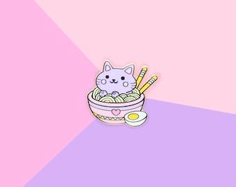 Ramen Noodles Foodie Cat - Hard Enamel Gold Lapel Pin Kawaii Kitty