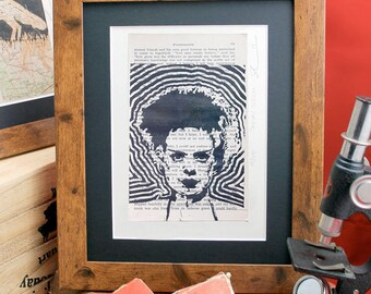 The Bride of Frankenstein linocut on upcycled 60's printing of Horror book by Mary Shelley. Limited edition classic movie monster lino print