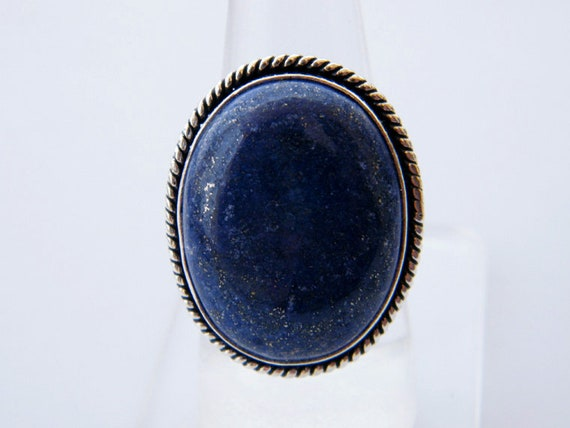 Lapis Lazuli Ring   Natural Blue Lapis Gemstone   Silver Plated   Handmade Ring by Etsy