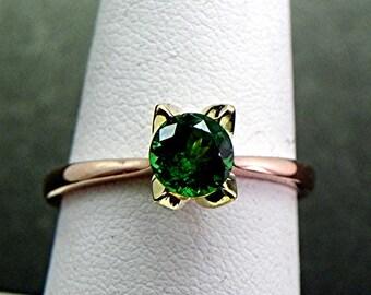 AAAA Tsavorite Garnet   .77 Carat   18K Rose Green Gold Solitaire Tulip Engagement ring 1475