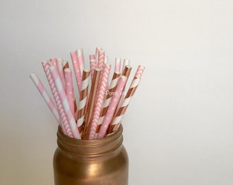 Rose gold and Pink paper straws / 25/ Party Straws / party supplies/ rose gold