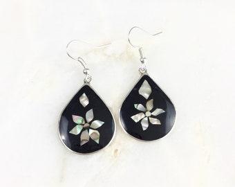 Vintage Mexico Alpaca Abalone Flower Earrings