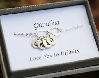 Grandmother bracelet,infinity initial bracelet,kid initials,Mother's day gift,Sisters forever,Personalized best friend gift,custom font