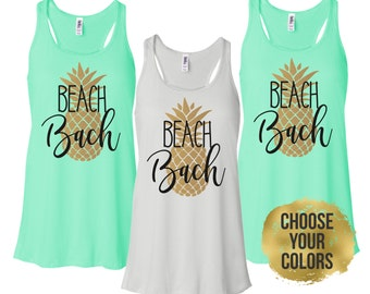 Beach Bachelorette Tanks, Pineapple Bachelorette Party Shirts, Bride and Bridesmaid Beach Shirts (BR042)