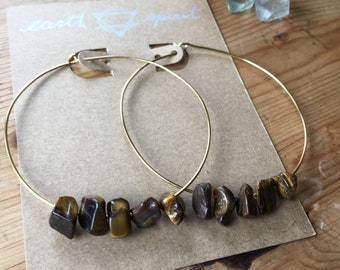 Brass and Tiger's Eye hoop earrings