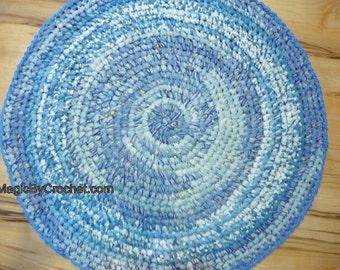 Rag Rug, Blue Rug, Handmade Rug, Nursery Rug,  Kitchen Rug , Round Rug, Crochet rug, 90 cm
