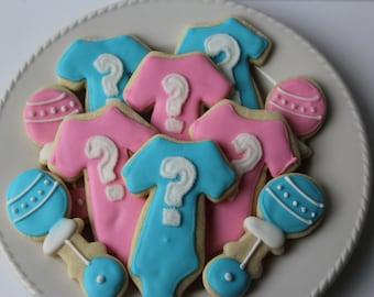 Gender Reveal Sugar Cookies - Gender Reveal Party -decorated cookie - Gender Reveal - Baby Gender - Gender Reveal Decorations