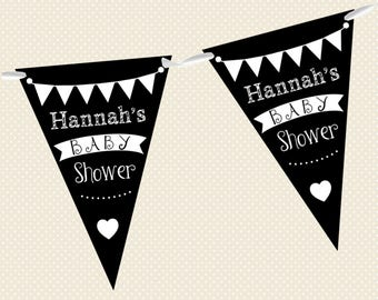 Personalised Chalkboard Bunting - Baby Shower - Made in UK