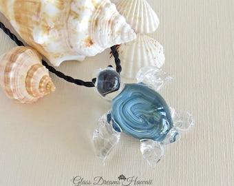 Glas-Meeresschildkröte Anhänger, Hawaiian Honu Anhänger, Boro Glas Schildkröte, handgefertigte Glasperlen, Glückssymbol
