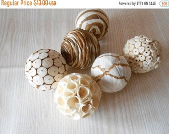 20%ON SALE Set of 6 Decorative Balls, Bowl Fillers, Wedding Table Decor, Rustic decor, Cottage Style,Eco Friendly Decor, Natural Decor Count