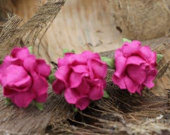 3 Pink  Roses Hairpins, Mulberry Paper Flower Hair Pins , Bridal Hair Pins, Hair Bobby Pins,Prom, Hair Accessories (FL339)