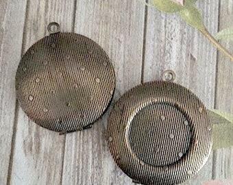 30mm Antiqued Brass Lockets, Polka Dot Pattern, Polka Dot Locket, 18mm Bezel Lockets, Brass Lockets, Made in the US, Lockets, DIY Lockets