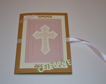 Participation in first communion, paper, Board, pink and kraft