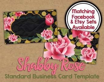 Shabby Rose Business Card - 2 sided Metallic Gold Business Card - Standard Business Card Template - Rose Gold Business Card - Gold Glitter