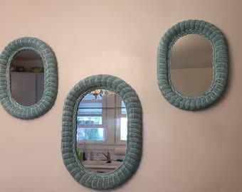 Set of 3 wicker mirrors. Rehabbed pearlescent aqua. Bobo/shabby chic