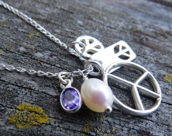 Yoga Jewelry, Peace Necklace, Peace Sign Charm Necklace, Charm Necklace, Peace Charms, Cluster Charm Necklace, Peace Jewelry, Hippy Jewelry