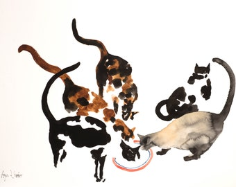 Cats together - original watercolor painting