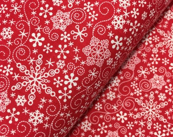 Red Mulberry Lane Snowflakes by Cherry Guidry for Contempo Studios, Christmas Fabric, Snowflake, Winter, Red Winter Fabric
