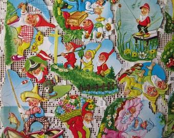 Vintage EAS Germany Die Cut Paper Scraps Happy Elves Gnomes  EAS 3129
