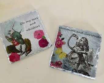 White Rabbit Burner mat / coaster in Alice in wonderland, white rabbit designs
