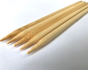 "Select Size 8"" Bamboo double point knitting needles sizes pointed 0 1 2 2.5 3 5 6 7 8 9 10 10.5 10.75  11 13 15 17 2.25 2.75 2.5 3 4 5.5 mm"