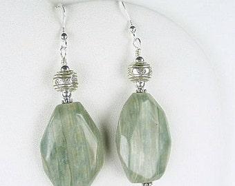 Green Line Quartz Earrings (Seaweed) by Gonet Jewelry Design