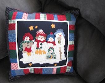 Christmas Snowman Family pillow Cover 16 x 16 Travel Home decor Toddler